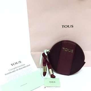 西班牙國民品牌 TOUS 圓形酒紅零錢包