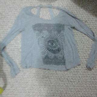 Open Back Grey Shirt