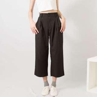 超顯腿長高腰雙釦滑料寬褲 / 2色