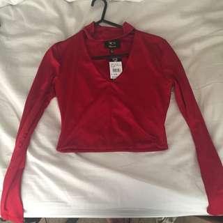 Red Long Sleeved Crop Top