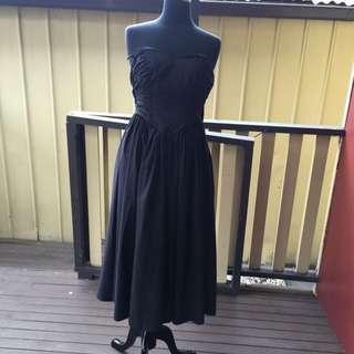 Vintage Laura Ashley Black Formal Dress Size 12