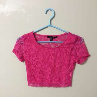 Hot Pink Lace Crop Top