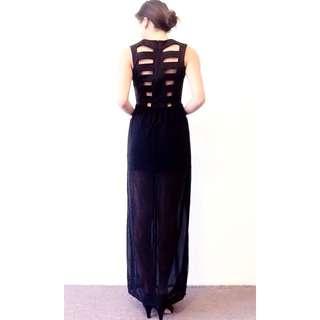 Black Chiffon Dress With Back Detail