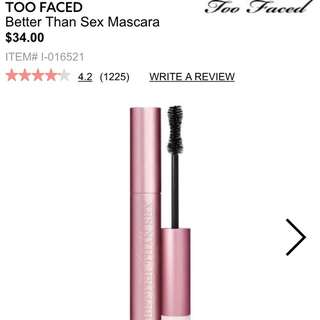"Too Faced ""better Than Sex"" Mascara"
