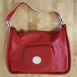 Red Scout genuine leather handbag