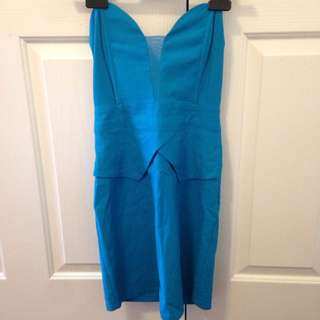 Blue Turquoise Strapless Dress