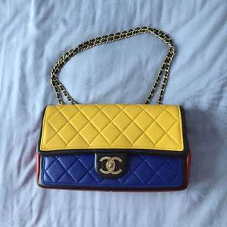 Authentic Chanel Multi Colour Quilted Leather Graphic Flap Bag (Reserved)