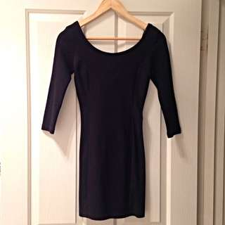 H&M Black 3/4 Sleeve Minidress