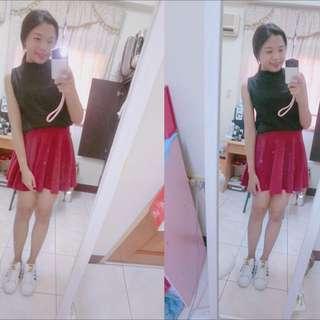 酒紅色蛋糕裙