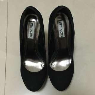 steve madden 黑色麂皮細跟高跟鞋
