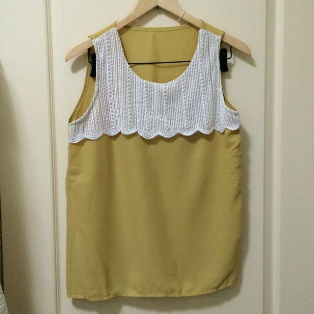 芥末黃珠飾背心上衣