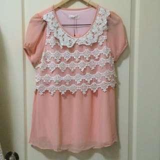 粉橘蕾絲雪紡上衣