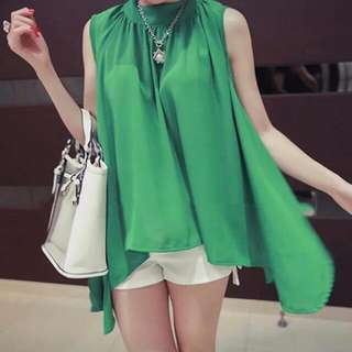 Turtle Neck Chiffon Top