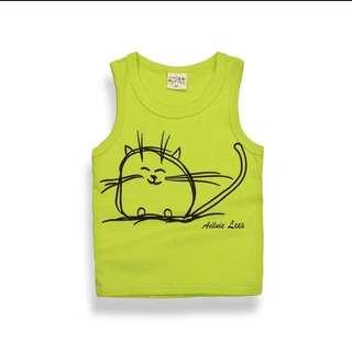 微笑貓咪無袖t-淺綠