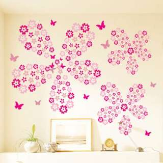 Pink Flowers Wall Sticker / Wall Decal
