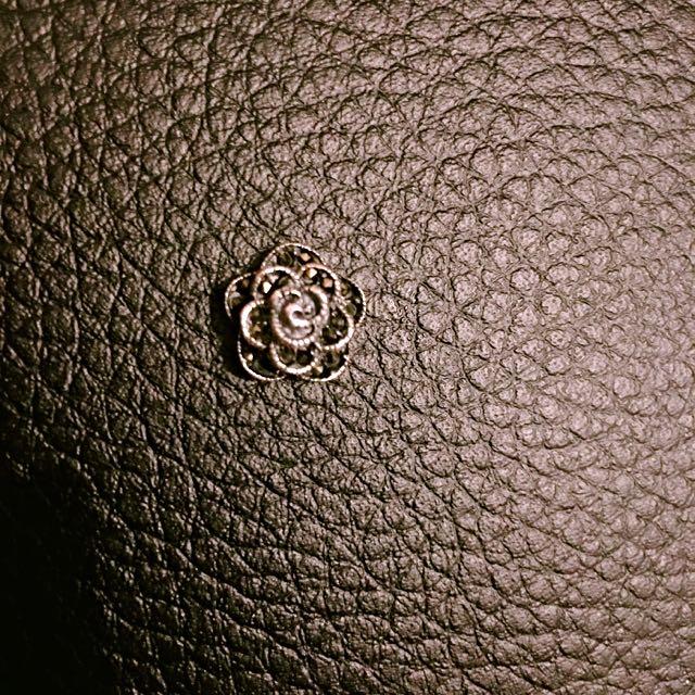 925純銀 鑲鑽玫瑰 穿線墜子