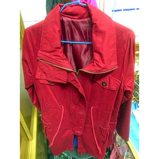 (含運)紅色縮腰外套