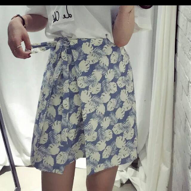 全新~文青系韓國綁帶後鬆緊樹葉短裙
