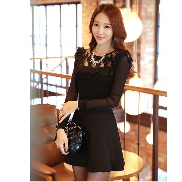 秋裝新品 韓版蕾絲打底衫 長袖修身镂空上衣 女装  蕾絲上衣  T58095#