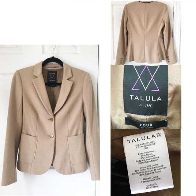 Aritzia Talula Caramel Wool Blazer