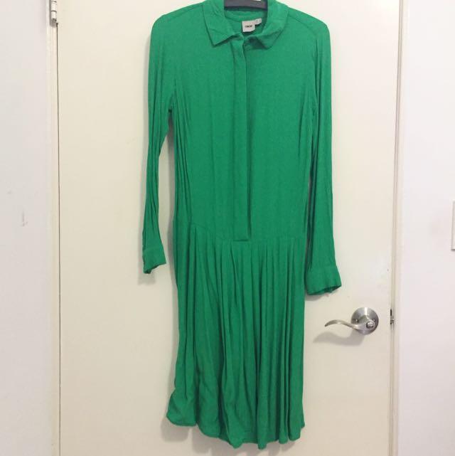 ASOS正綠 連身襯衫裙