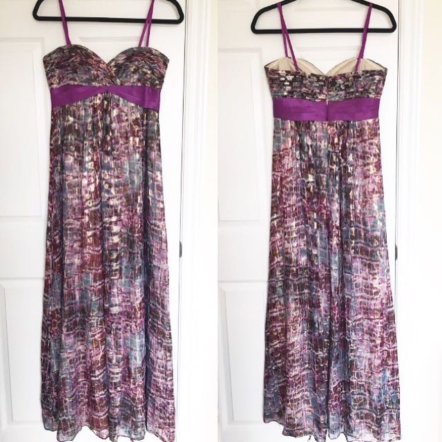 BCBG MaxAzria Strapless Purple And Gold Dress