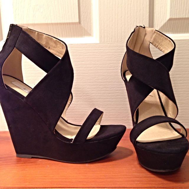 Black Microsuede Wedge Heel - Size 9