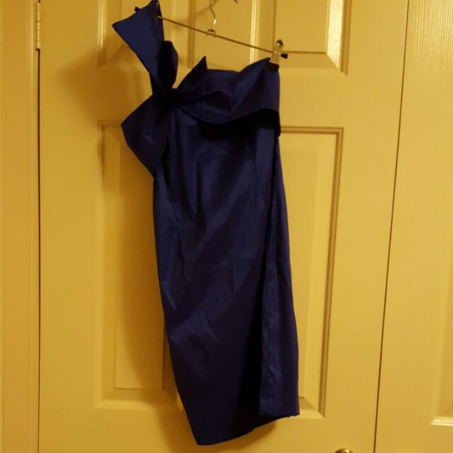 Blue One Shoulder Bodycon Cocktail Dress Size M