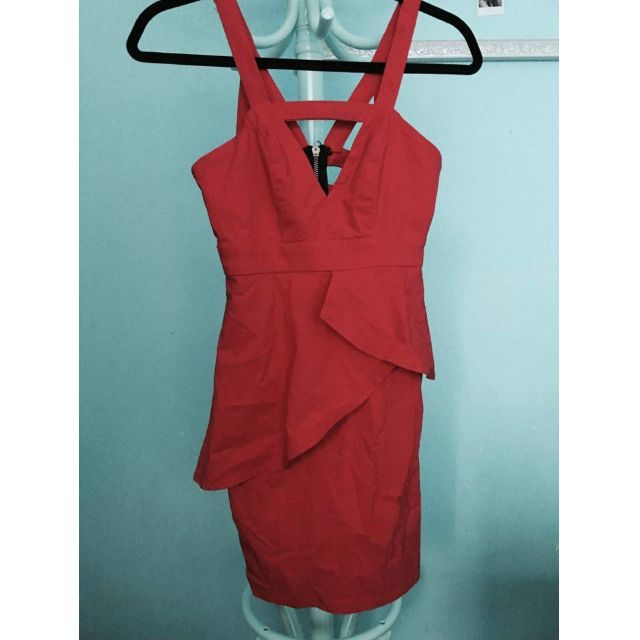 Bodycon red peplum dresss