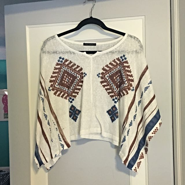 Brown And Blue Aztec Top