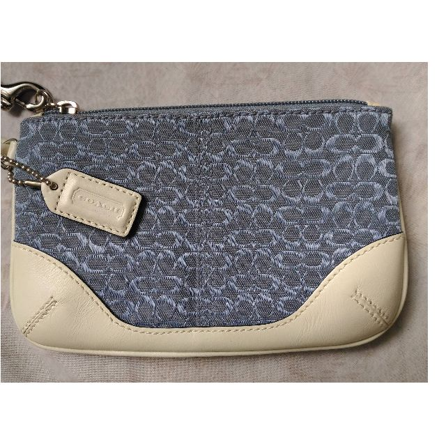 COACH wristlet -blue and white