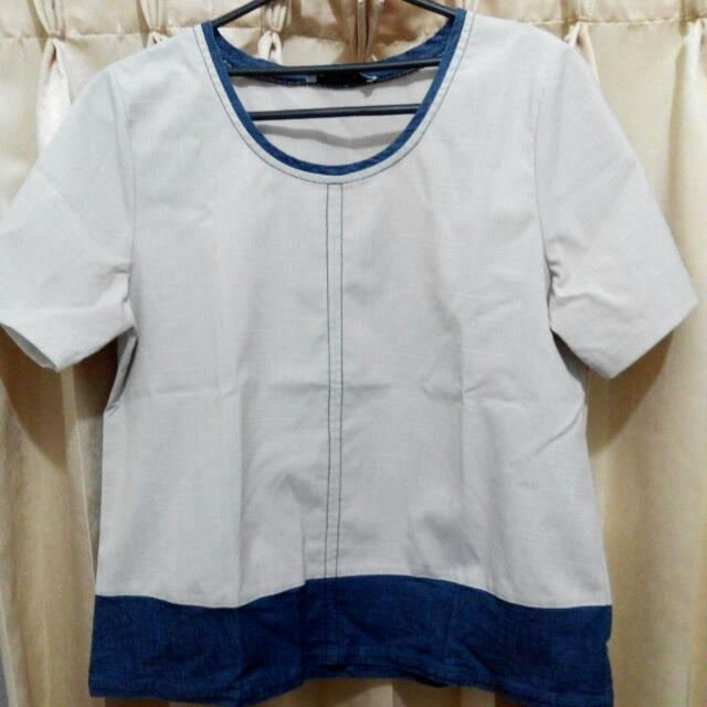 Cotton Ink Two-tone Boxy Blouse