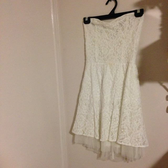 Cute Lacey White Strapless Dress