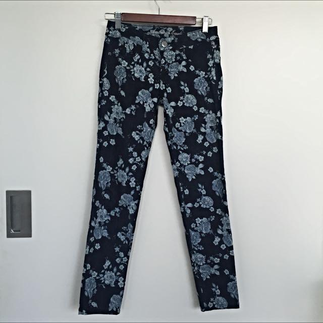 Floral Patterned Jeans
