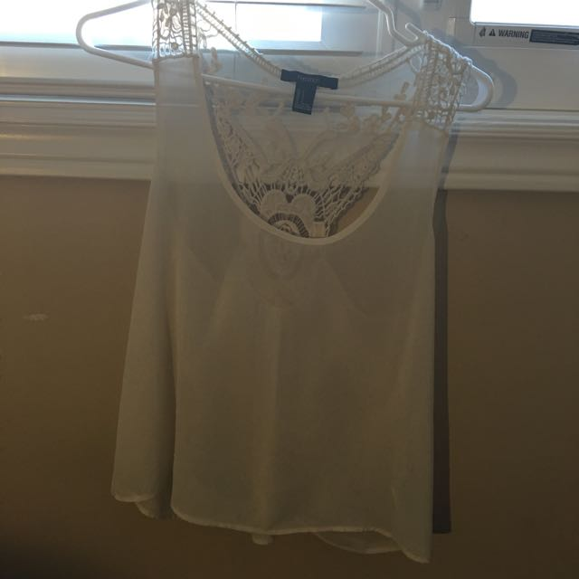 Forever 21 Chiffon White Tank Size S