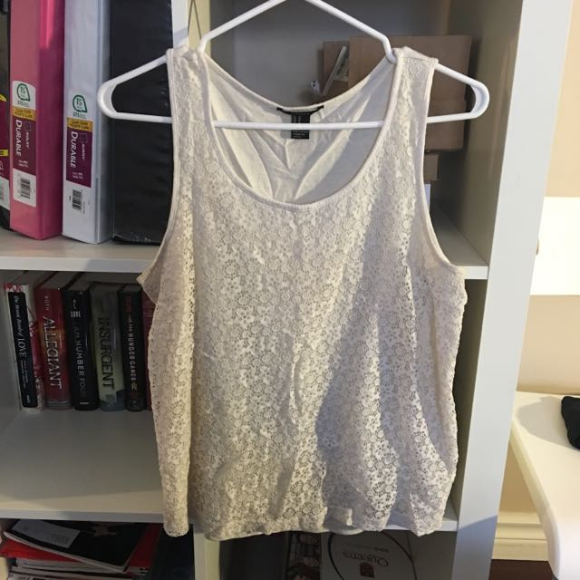 Forever 21 Lace Tank (shirt Material Back) Size S