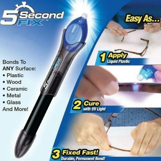 GENUINE 5 SECONDS QUICK FIX UV LIGHT LIQUID PLASTIC WELDING COMPOUND REPAIR GLUE