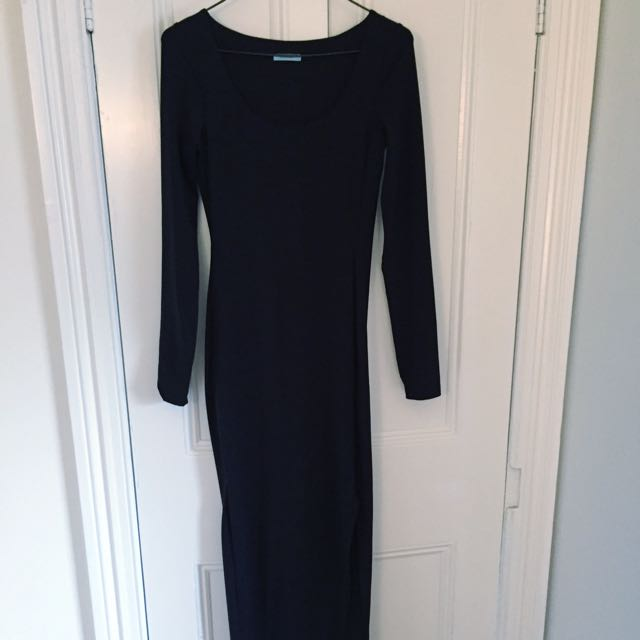 Kookai Long Sleeve Maxi Dress With Mid Thigh Split