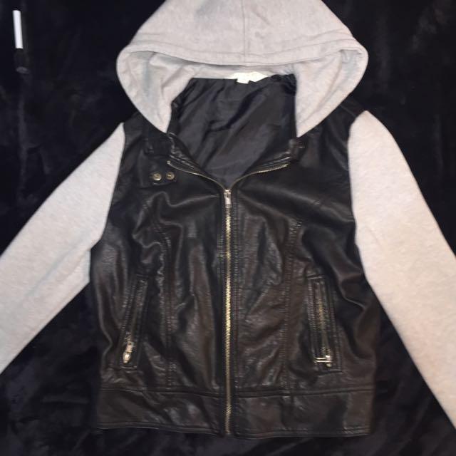 -On Hold- Leather/hoodie Jacket