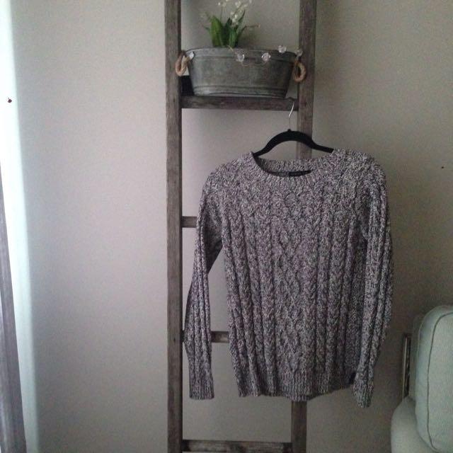Mango Size Small Grey Knit Sweater