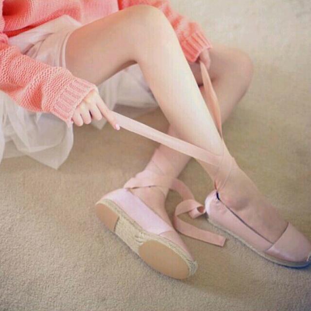 milkcocoa 韓國草編織底甜美綁帶芭蕾舞鞋-粉37