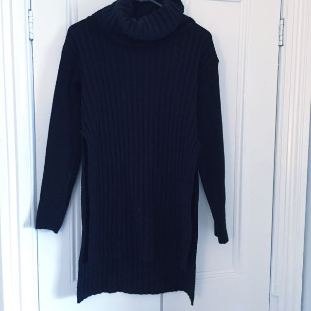 Misguided Roll/neck, Side Split Ribbed Jumper