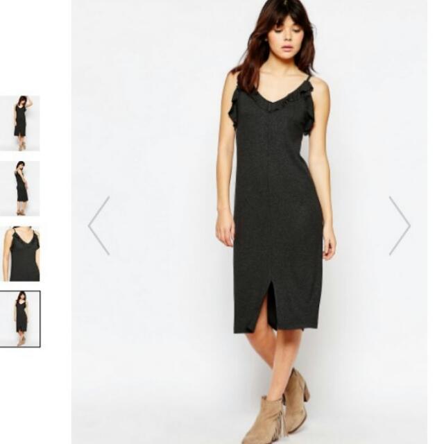 96d3a97517f plus size ASOS charcoal ribbed midi dress. fits uk 18 20 22