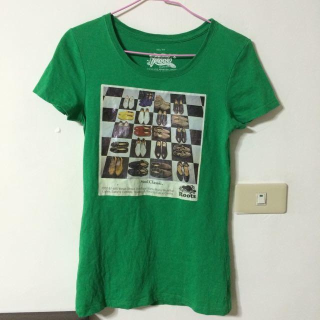 Roots綠色T恤
