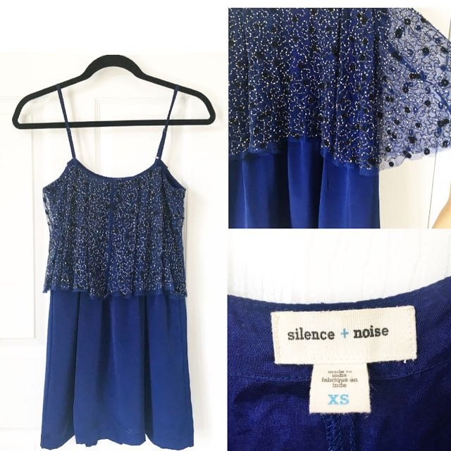 Urban Outfitters Sequin Royal Blue Spaghetti Strap Dress