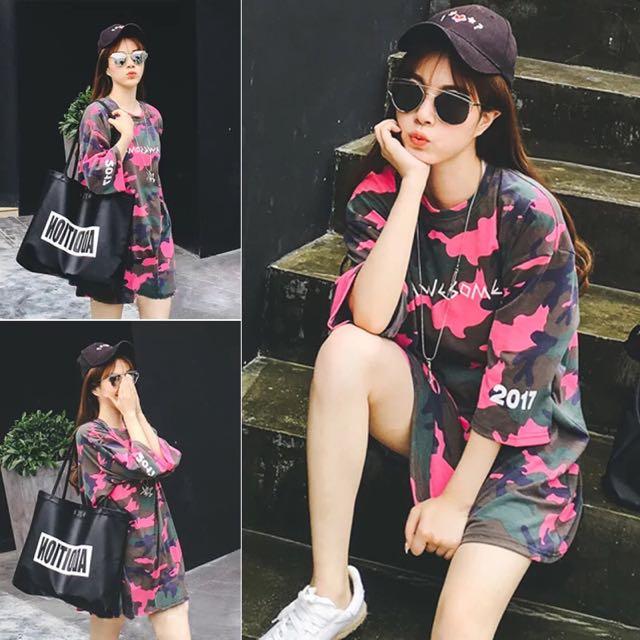 韓版新款時尚寬鬆中長款上衣五分袖字母迷彩T恤