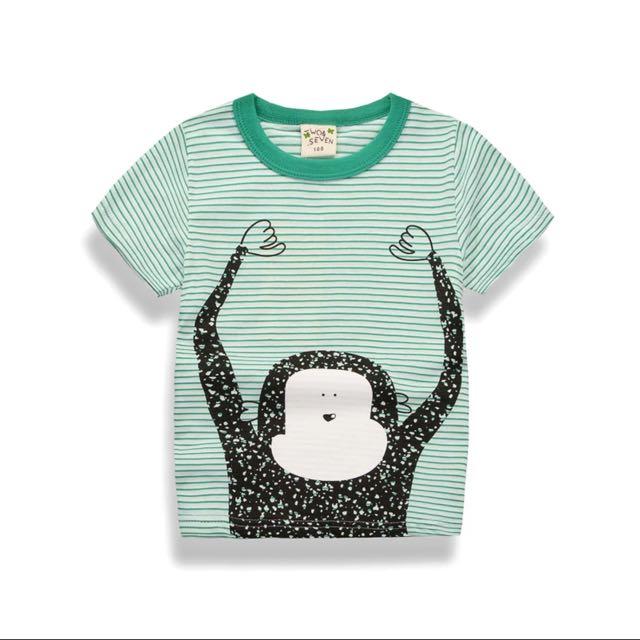綠條紋可愛小猴t