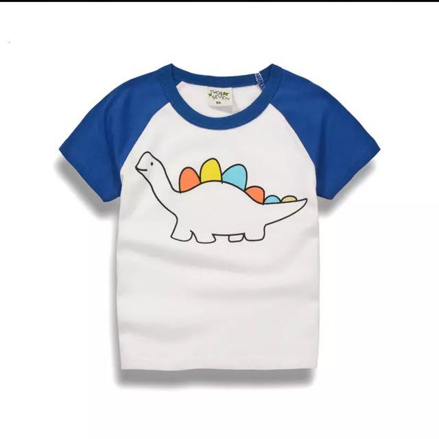 可愛恐龍t-藍袖
