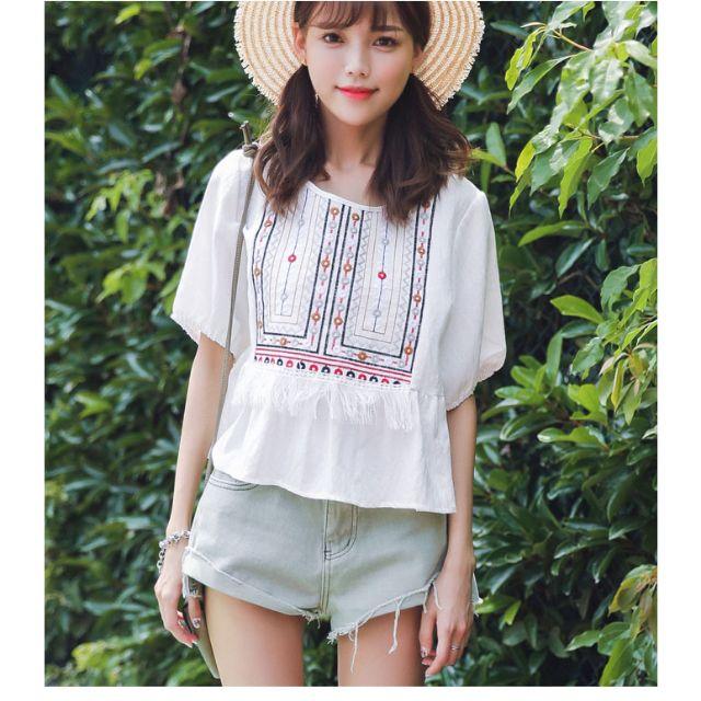 圓領流蘇民族風繡花短袖T恤 預購款 7-12天