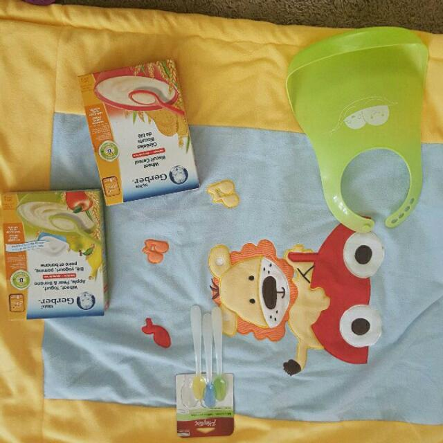 unused blanket cereals unused spoons and bib
